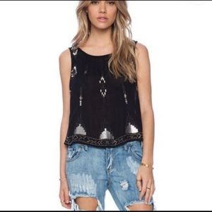 Free People Black Sequin Tank Top w Open Sides.